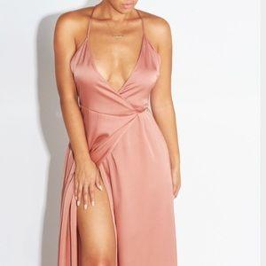 Cotton Candy LA faux Pink silk warp dress